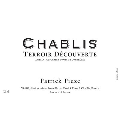 Patrick Piuze Chablis Terroir Decouverte 2018 (12x75cl)