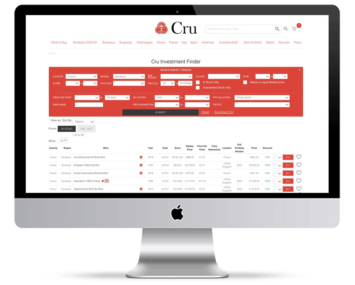 Cru Wine Investment Finder