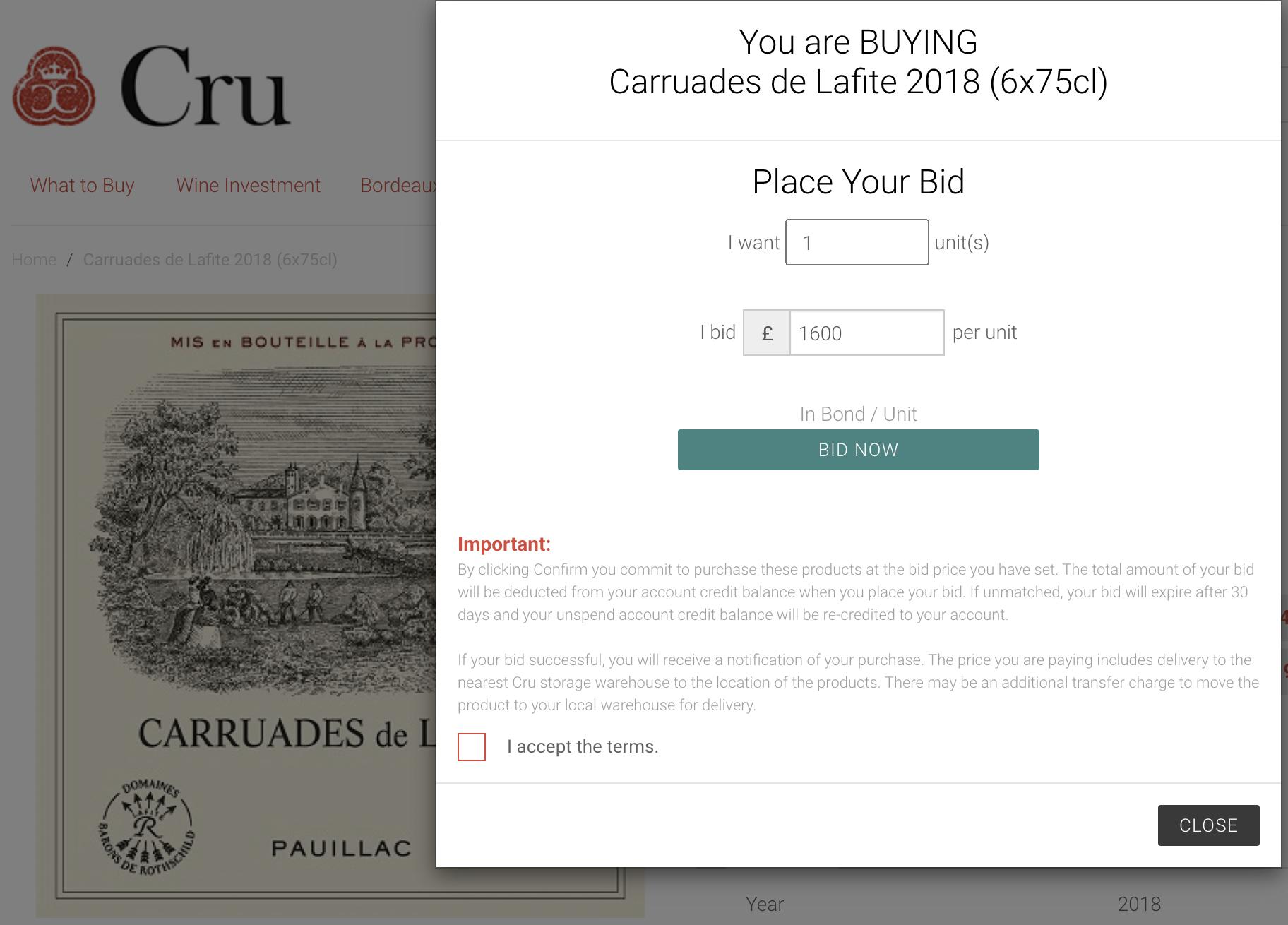 Bid for wine Cru online screen